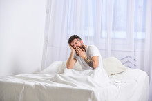 Guy On Sleepy Tired Face Yawning. Macho With Beard And Mustache Yawning, Relaxing, Having Nap, Rest. Man In Shirt Sits On Bed, White Curtains On Background. Nap And Siesta Concept.