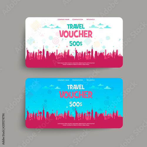 Vector Set Of Gift Travel Voucher Template For A Festive Gift Card