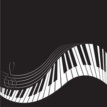 PrintStylized Piano Keys And Stave. Music  Background, Template, Poster. Black And White Colors.