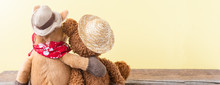 Friendship, Teddy Bear Holding Plush Horse In Its Arms, Banner