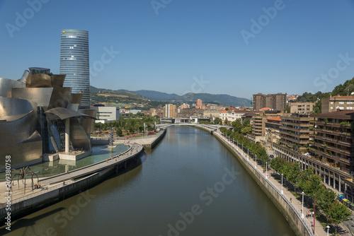 Ria del Nervion and Guggenheim Bilbao museum in sunny day