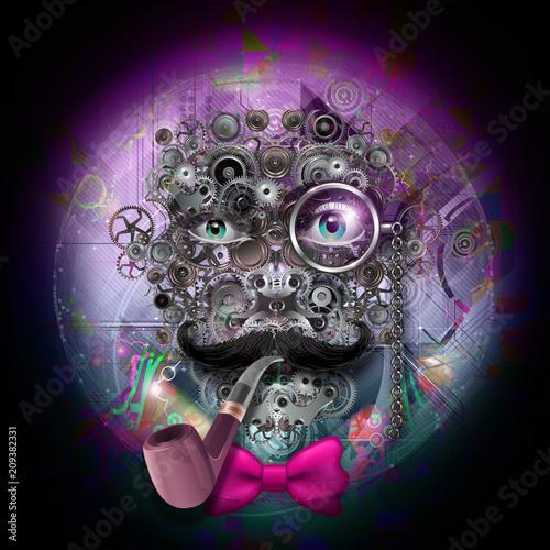 Красочная художественная или декоративная роспись с мужским лицом из зубчатых колес, стимпанк