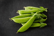 Freshly Picked Snow Peas On A ...