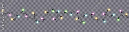 Fototapeta Christmas and New Year garlands with glowing light bulbs obraz