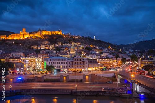 Keuken foto achterwand Bruggen Tbilisi Old Town, by night
