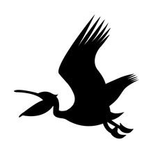 Vector Image Of Silhouette Of A Pelican Flying With An Open Beak