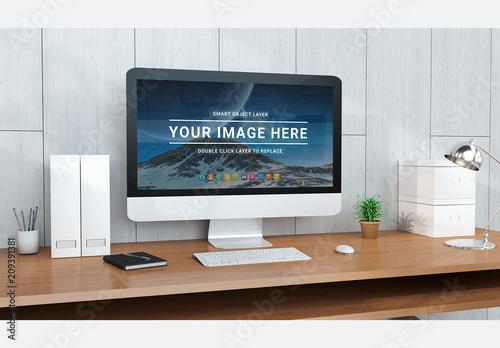 Modern Office Desktop With Computer Kaufen Sie Diese Vorlage Und