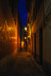 Night street. Narrow street. Dark street illuminated with street lamps. Stone pavement in the old town. Evening urban landscape.
