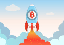 Cartoon Bitcoin Rocket, Space Ship Soars Into The Sky And Clouds