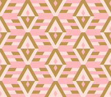 Ethnic Seamless Pattern With Rhombuses. Tribal Geometrical Background. Vector Illustration.