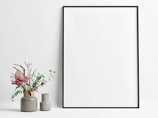 Mock up poster with flower pot, 3d render, 3d illustration