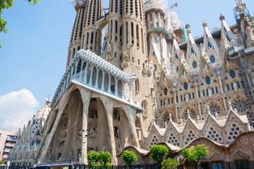 Part of the facade of Sagrada Familia in summer, Barcelona, Spain