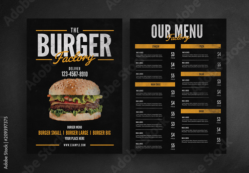 Burger Restaurant Menu Layout. Buy this stock template and ...