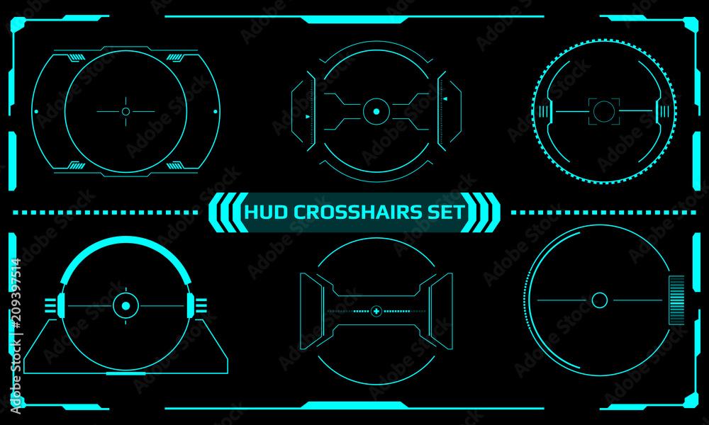 Fototapeta HUD Futuristic Elements Scanning Crosshairs Interface Control Panel Abstract Illustration. Hi Tech Scifi Green Mission Target Indicator Monitor Display Vector.