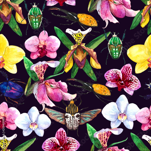 Tuinposter Watercolor seamless tropical pattern with orchid and beetles