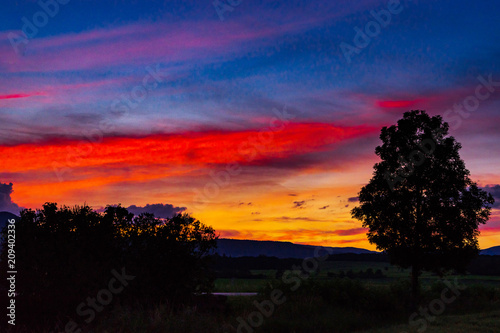 Foto op Plexiglas Crimson Majestic colorful sunset high resolution panoramic view, Alsace