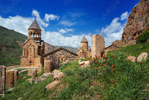 Noravank monastery complex built on ledge of narrow gorge Wallpaper Mural