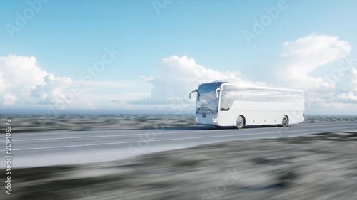 Fotografía  tourist white bus on the road, highway