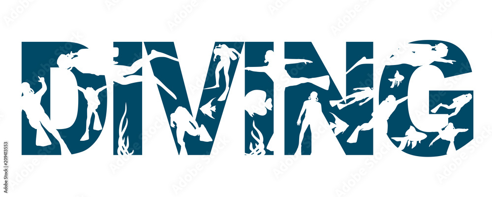 Fototapeta Diving word with silhouettes of diver. The concept of sport diving.