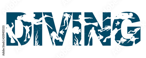 Fototapeta Diving word with silhouettes of diver. The concept of sport diving. obraz