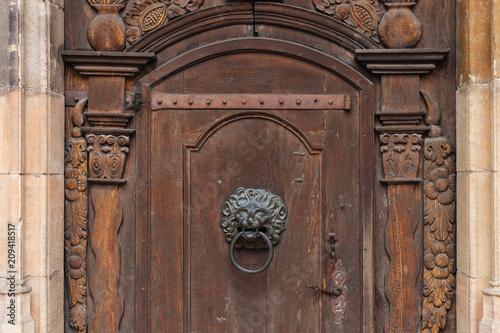 Wall Murals Nepal church brown wooden door with handles details