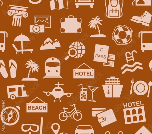 Travel Vacation Tourism Seamless Pattern Brown Color Vector