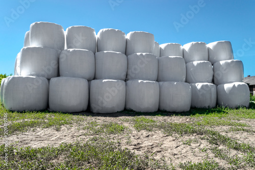 Fotografía Large Silage Bales Wrapped in White Plastic and Placed One on Each Other