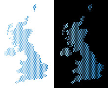 Hexagon United Kingdom Map. Vector Territory Scheme In Light Blue Color With Horizontal Gradient On White And Black Backgrounds. Abstract United Kingdom Map Mosaic Is Created From Hex-tile Spots.