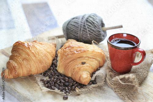 Poster Coffee beans croissant, café