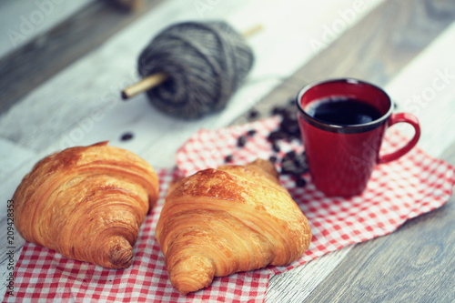 Poster Coffee bar croissant, café