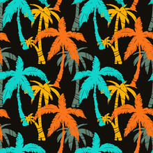 Seamless Pattern Coconut Palm Trees