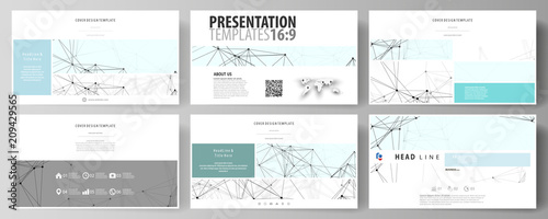 Business templates in HD format for presentation slides. Abstract vector layouts in flat design. Chemistry pattern, connecting lines and dots, molecule structure on white, geometric graphic background