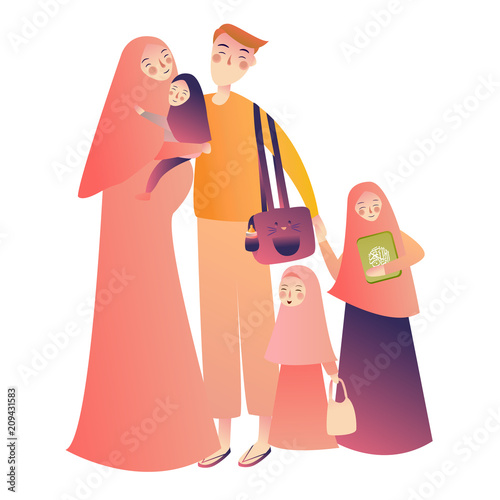 Cartoon Arab Family Characters Happy Muslim Mother Holding Infant Baby Teen Girl Children People In National Clothing Hijab Holding Quran Book Buy This Stock Vector And Explore Similar Vectors At Adobe