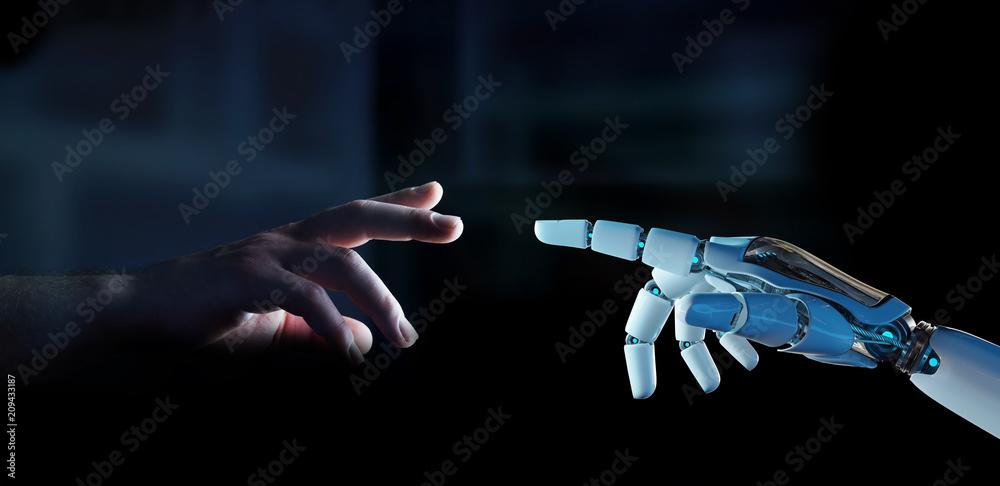Fototapeta White cyborg finger about to touch human finger 3D rendering