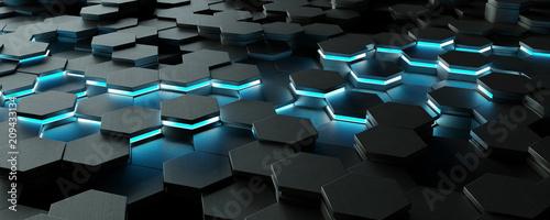 Fototapeta Black and blue hexagons background pattern 3D rendering obraz