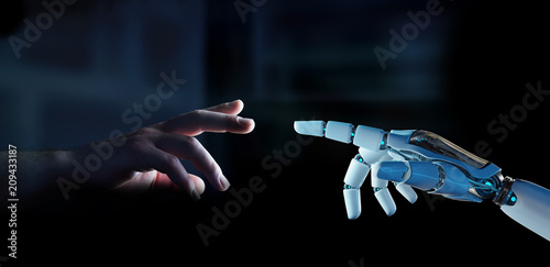 White cyborg finger about to touch human finger 3D rendering