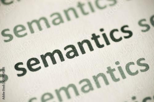 Vászonkép word semantics printed on paper macro