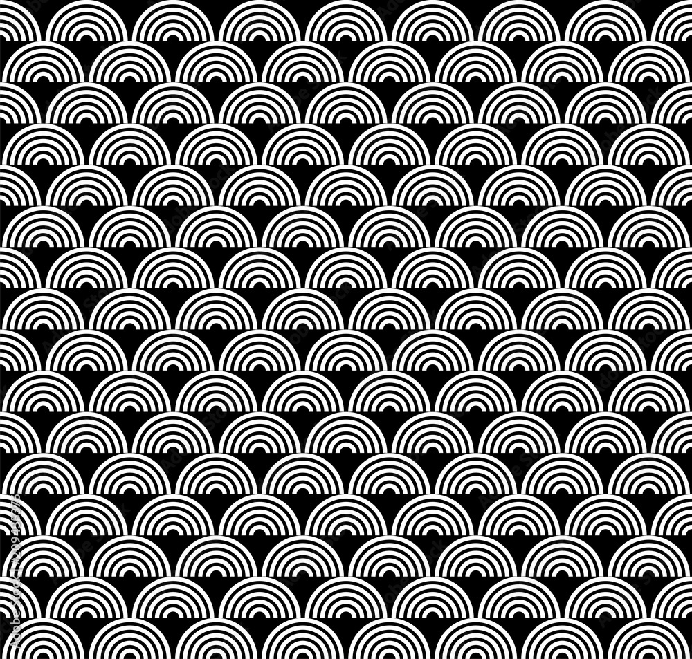 Black and white seamless pattern with scales in art deco style