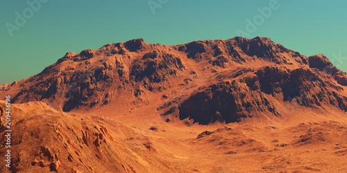 Tuinposter Baksteen Mars landscape, 3d render of imaginary mars planet terrain