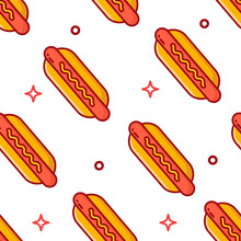 Fast Food Pattern With Hot Dog On White Background. Thin Line Flat Design. Vector.