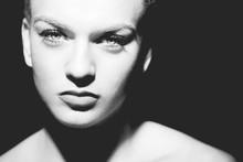 Beautiful Woman Low Key Portrait, Monochrome
