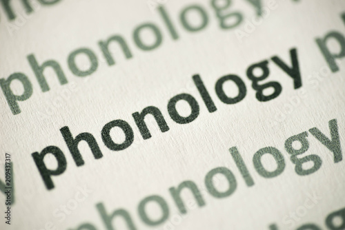 Fényképezés word phonology printed on paper macro