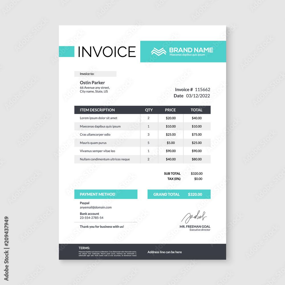 Fototapeta Invoice minimal design template. Bill form business invoice accounting