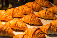Croissant In Bakery Shop For Background.