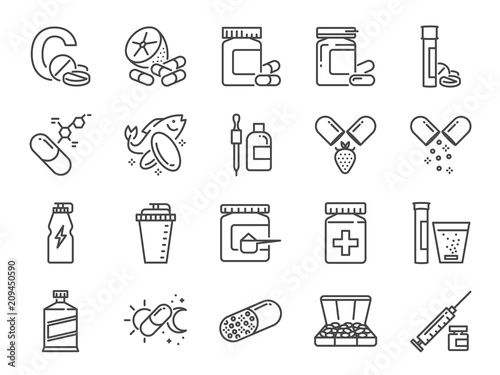 Fototapeta Vitamin and dietary supplement icon set. Included the icons as vitamin c, fish oil, whey protein, tablet, pills, medication, medicine and more obraz