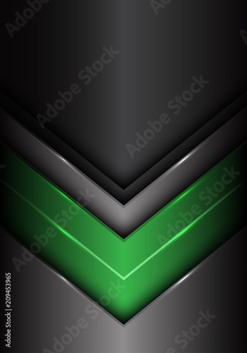 Abstract green dark gray metal arrow design modern futuristic background vector illustration.