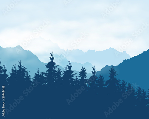 Aluminium Prints Realistic illustration of a coniferous forest in a mountain landscape in a haze under a blue sky with clouds