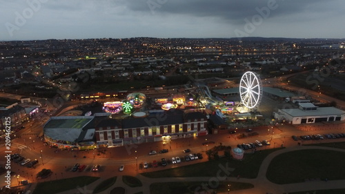Tela Barry Island fun fair from the air at night