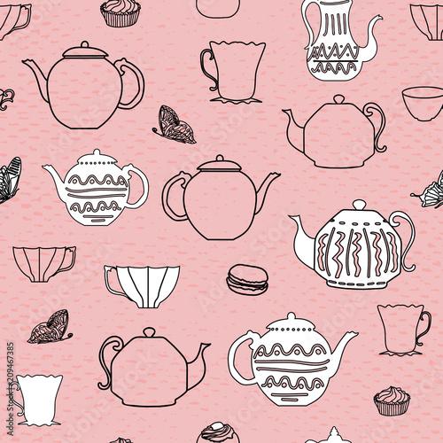 rozowe-i-czarne-rocznika-czajniki-i-kubki-bezszwowe-teksturowane-tlo-wzor-i