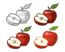 Apple Whole And Half With Leaf...
